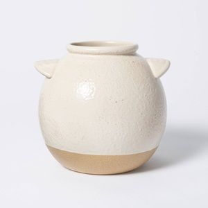6 in x 6 in Crock Stoneware Vase Beige - Threshold designed with Studio McGee
